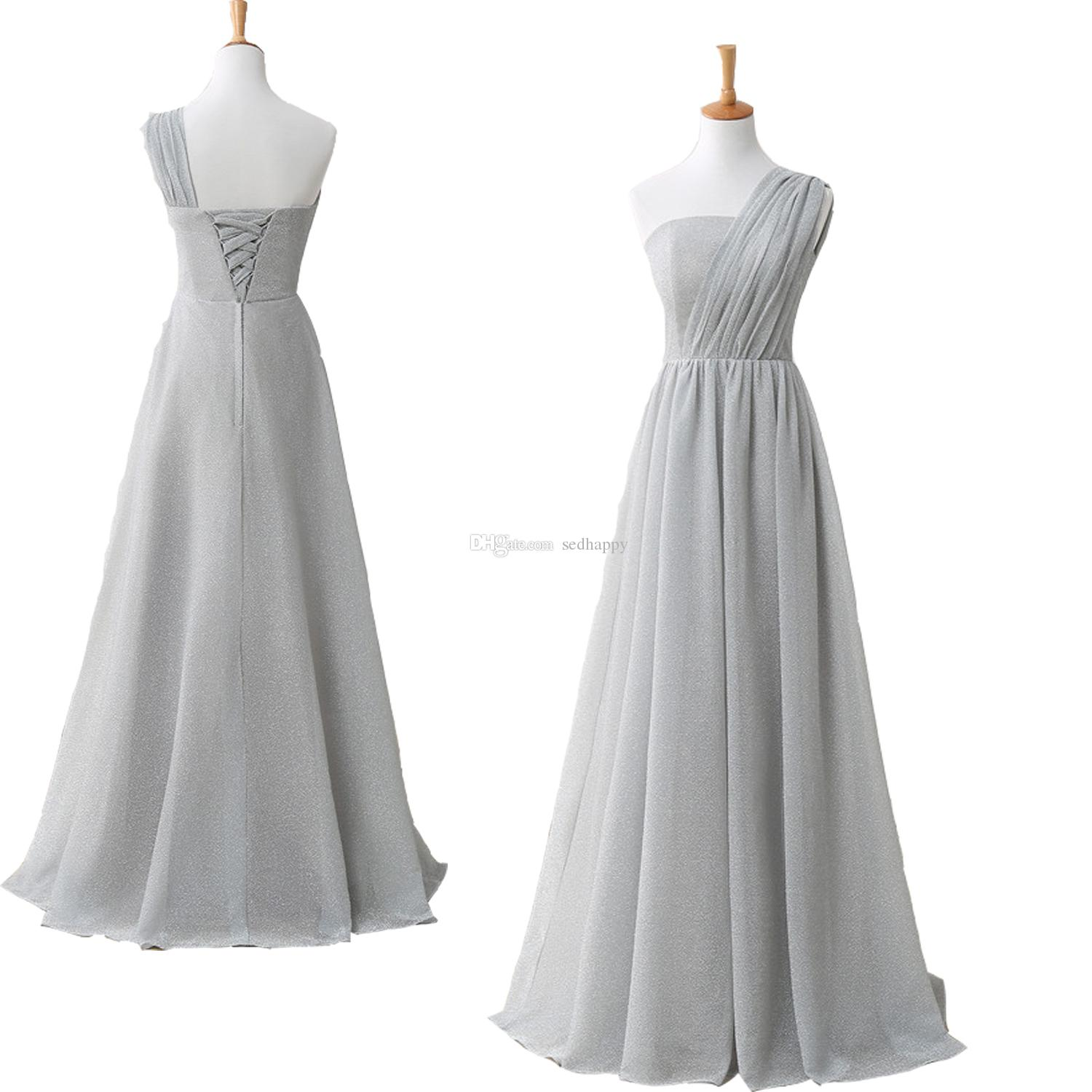 MAGGIEISAMAZING Wholesale one shoulder simple sleeveless back lace up Long Bridesmaid Dress with floor length CYH0000LG0215
