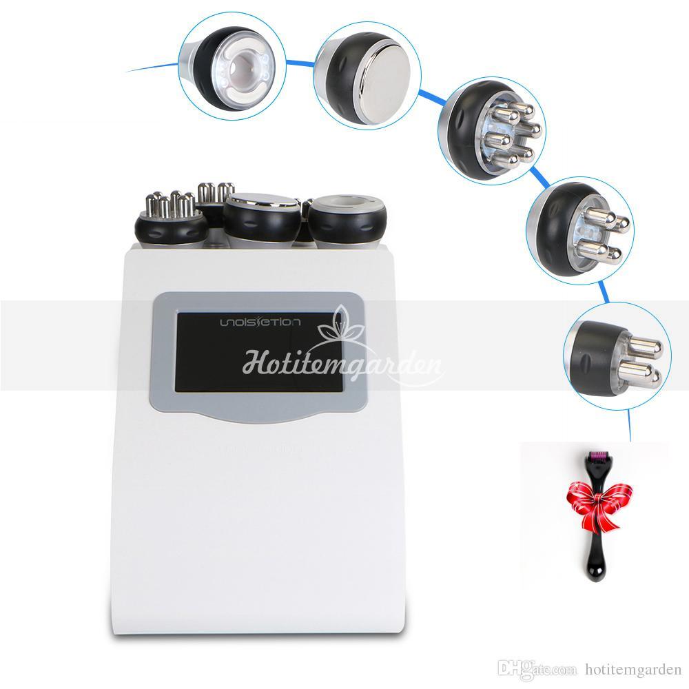 ultra-som Radio 5IN1 cavitação 40K Frequência RF Multipolar Vacuum máquina Photon rosto corpo cuidado perda de gordura + dom rolo de micro agulha
