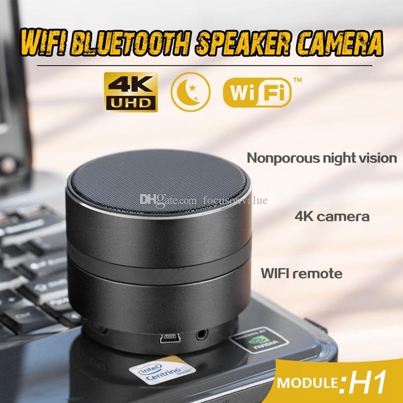 4K Ultra-HD wifi Bluetooth-Lautsprecher-Kamera IR Nachtsicht-Musik-Player Mini-Kamera Wireless P2P IP-Sicherheits-Cam mit Bewegungserkennung