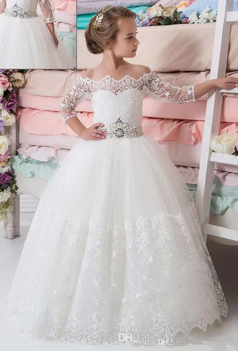 2019 Nuovo principessa dalle ragazze di fiore abiti Bateau Collo telaio in rilievo Lace mezze maniche Pageant abiti lunghi Piano Tulle Comunione Dress