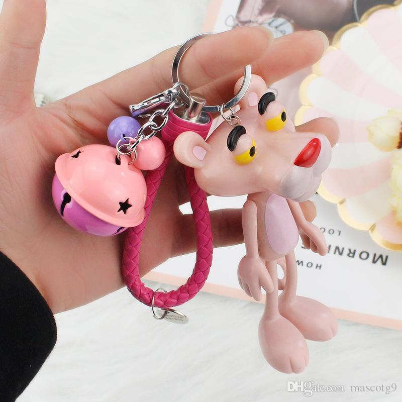 Cartoon Cute Doll Animal Pink Panther llavero llaveros de cuero cuerda campanas llaveros mujeres bolsa de coche encantos colgante