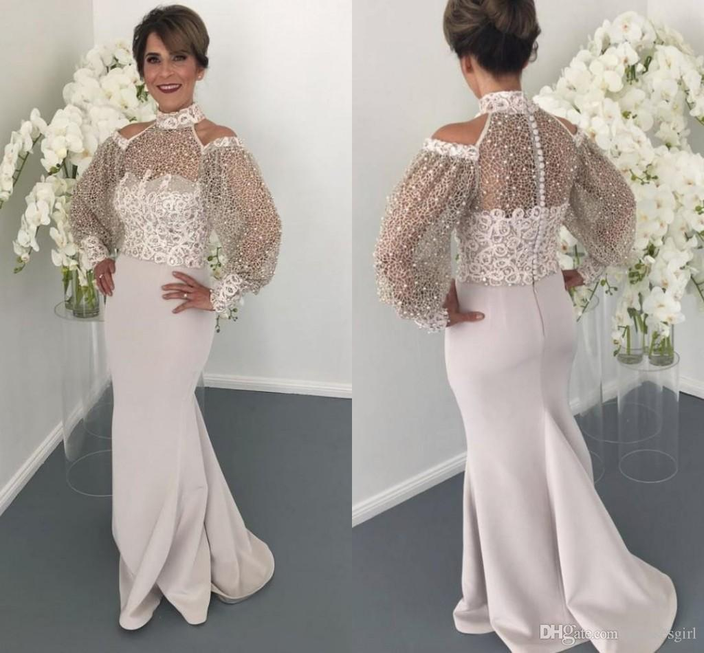 Special Designer Arabic Mermaid Prom Dresses New Arrival High Neck Sheer Long Sleeves Appliques Pearls Long Formal Evening Gowns
