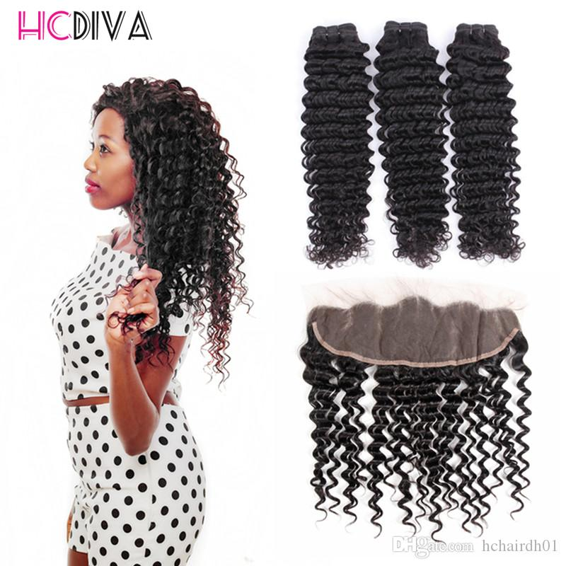 Extensiones de cabello humano de la Virgen brasileña sin procesar 8A 3 fotos de onda profunda de visón con frontal de encaje 100% cabello virginal sin procesar Precio al por mayor