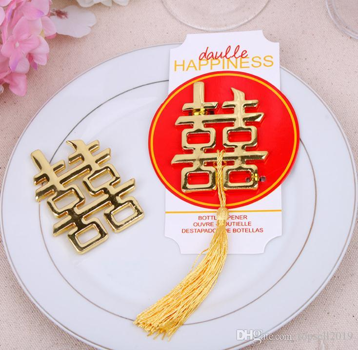 100pcs Chinese Asian themed double happiness bottle opener Wedding Party Favors Wedding giveaways Free shipping SN499
