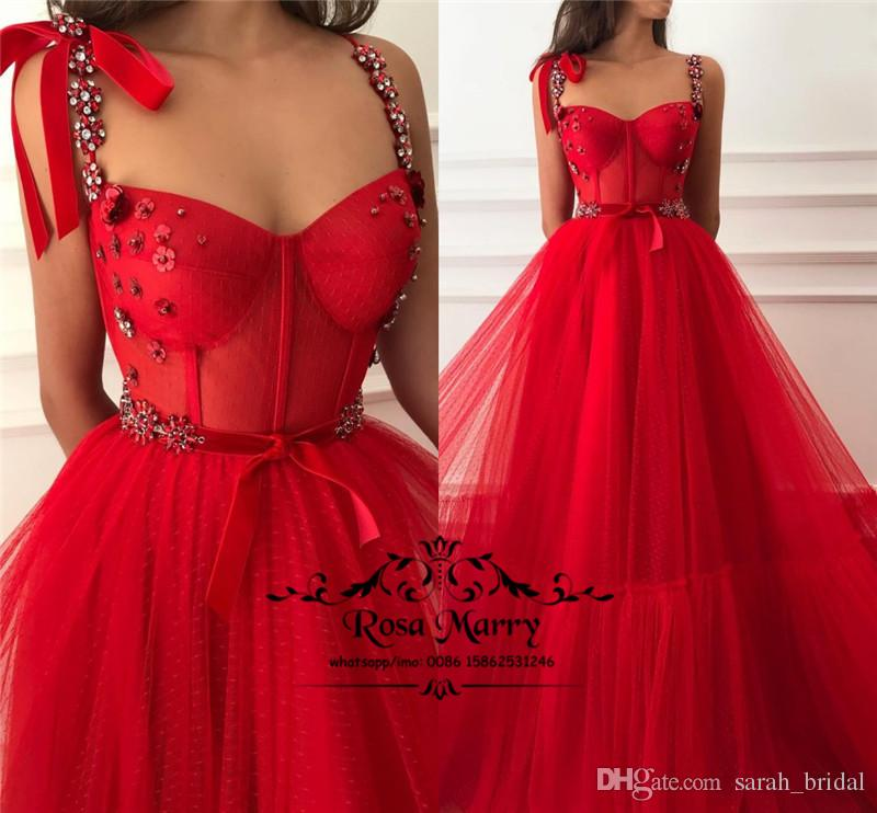 Red Crystals Cheap Long Prom Dresses 2019 A Line Plus Size Princess Fairy Girls Pageant Formal Evening Party Gowns
