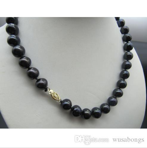 """bella collana di perle nere di Tahiti da 11-12 mm naturali 18 """"oro giallo 14 carati"""