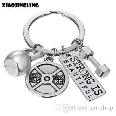 XIAOJINGLIG Personalized Barbell Dumbbell Keychain STRONG IS BEAUTIFUL Key Chain Men's Charm Women's Gym Sport Fashion Key Ring
