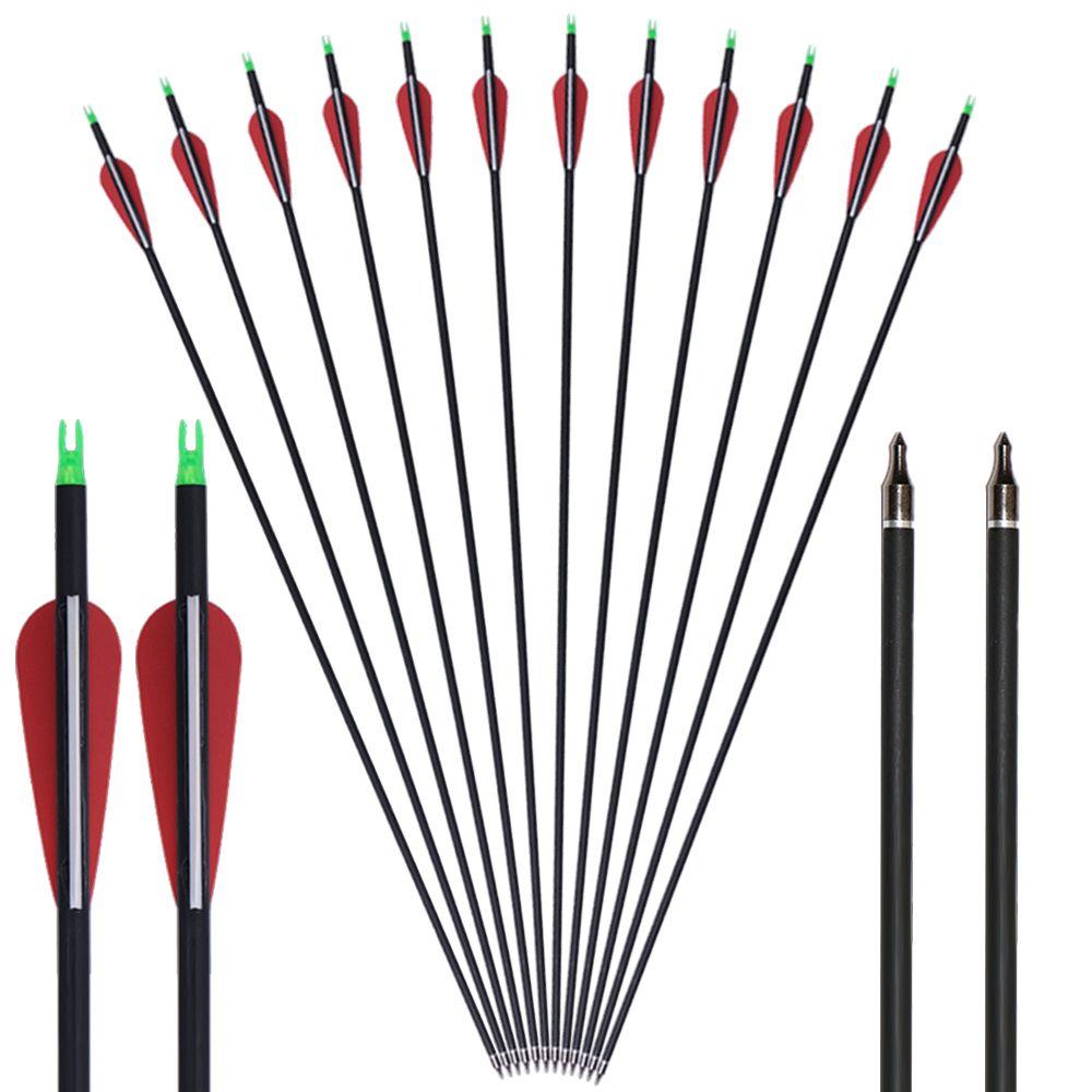 Setas de carbono 31 '' de plástico com dicas substituíveis de pontos de campo para arco recurvo e arco composto