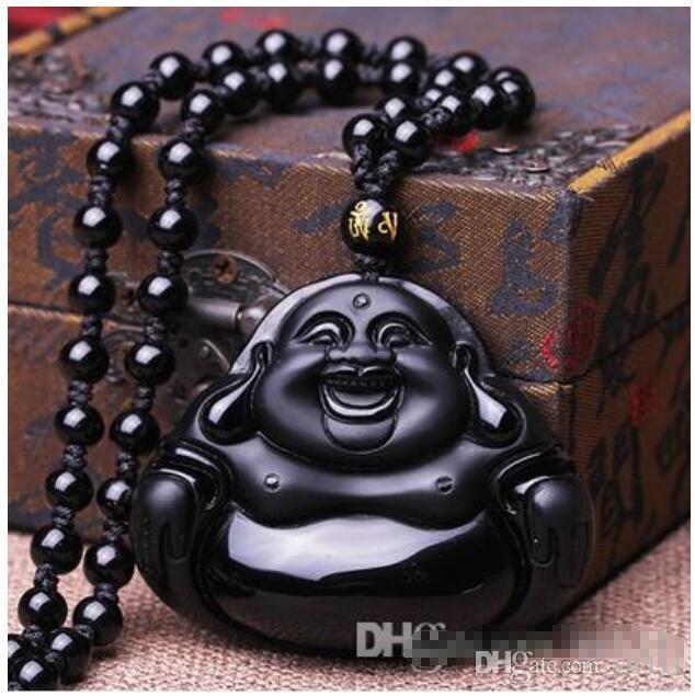 Venda por atacado - Natural genuína pedra negra Maitreya Buda pingente homens e mulheres colar Hei Yao Shi rir Buddha jade pingente de jóias