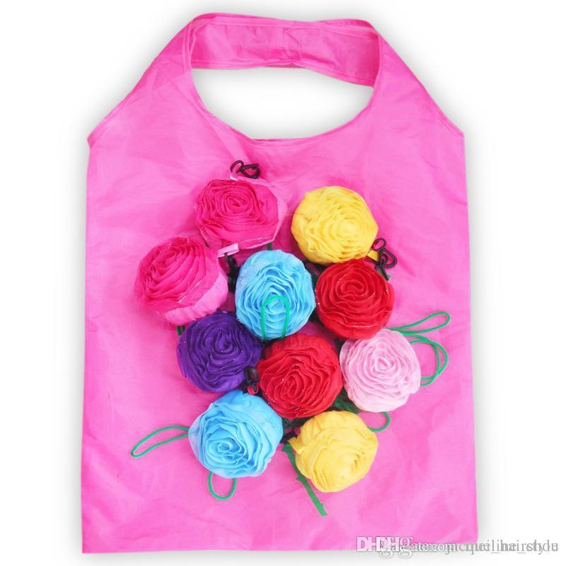En gros 100 pcs Jolie Rose Sac Pliable 190 T Polyester Protection de L'environnement Sacs Eco Réutilisables Sacs D'achat 60 cm x 38 cm Livraison Gratuite