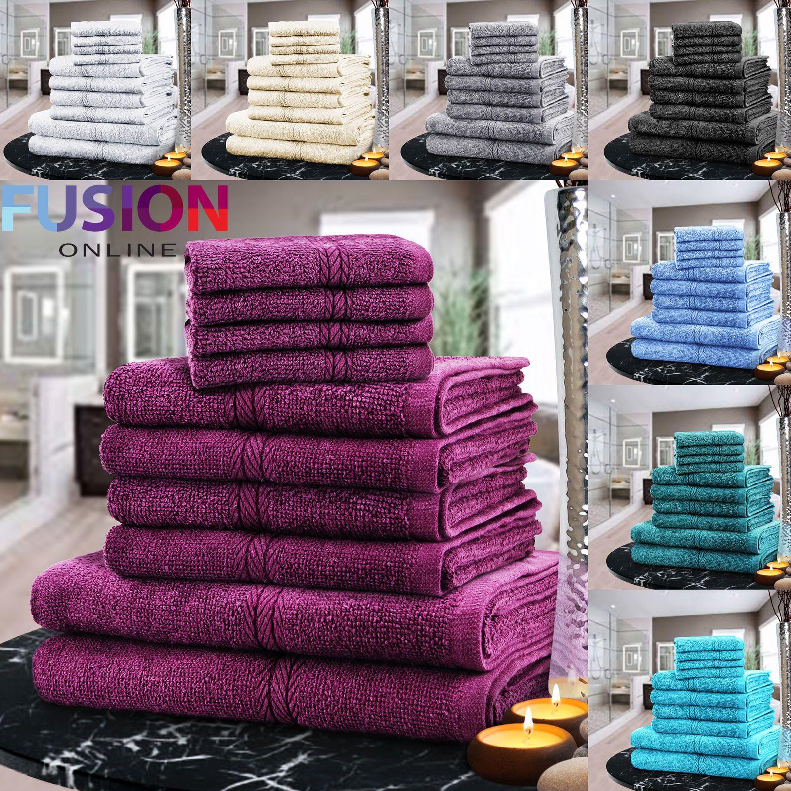 LUXURY TOWEL BALE SET 100% COTTON 10PC FACE HAND BATH BATHROOM TOWELS 9