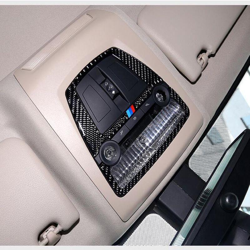 Karbon Fiber Araba İç Dome Okuma Işık Kapağı döşeme dekorasyon çatı Lambası BMW 5 Serisi 5GT X3 X4 F10 F10 Için çerçeveler aksesuarları F07 F25 F26