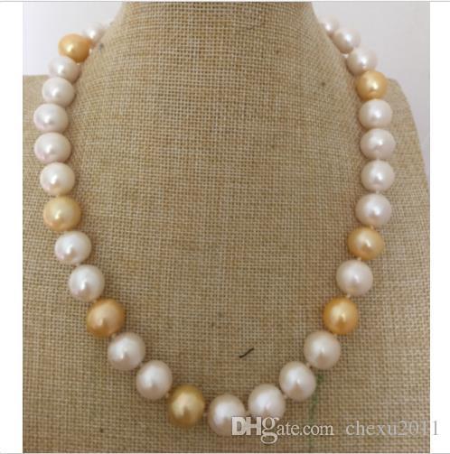 Enorme collar redondo de perlas multicolor de 11-12 mm del Mar del Sur, 18 pulgadas, oro de 14 k