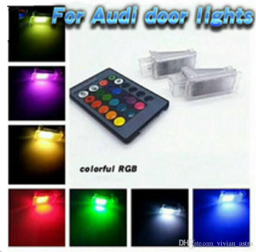 For Audi RS6 A8 S8 Q5 Q7 TT Car RGB 16 Colors LED Welcome Door Courtesy Shadow Logo Lights Projector Laser Ghost light