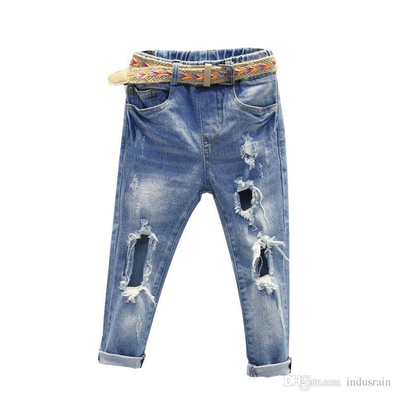 Compre Mihkalev Primavera Verano Pantalones Rotos Para Ninas Pantalones De Mezclilla Ninos Casuales Agujero Roto Pantalones Ninos Pantalones Rotos Para Ninos Pantalones A 16 3 Del Indusrain Dhgate Com