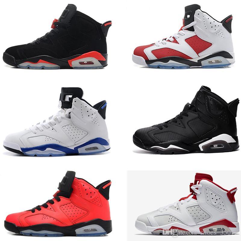 Nova raça homens 6 6 s tênis de basquete funileiro unc gato preto branco infravermelho vermelho carmim toro mens designer trainer tamanho sneaker 41-47