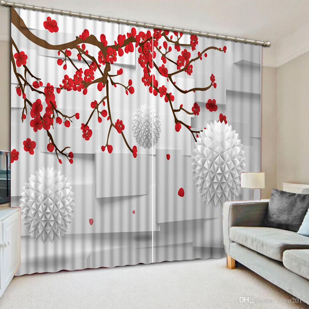 2019 Top Quality Blackout Polyester Cotton Curtain Plum Blossom 3d Luxury Curtains For Living Room Window Curtains From Yiwu2017 200 0 Dhgate Com
