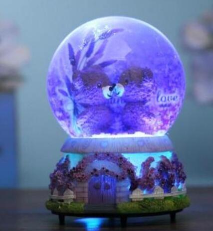 Light snow crystal ball music box music box to send his girlfriend a birthday gift for children bestie