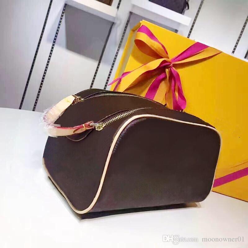 2018 Ücretsiz kargo Toptan lüks tasarımcı çift fermuarlı kadın kozmetik çantası büyük seyahat organizatör depolama yıkama ç ...