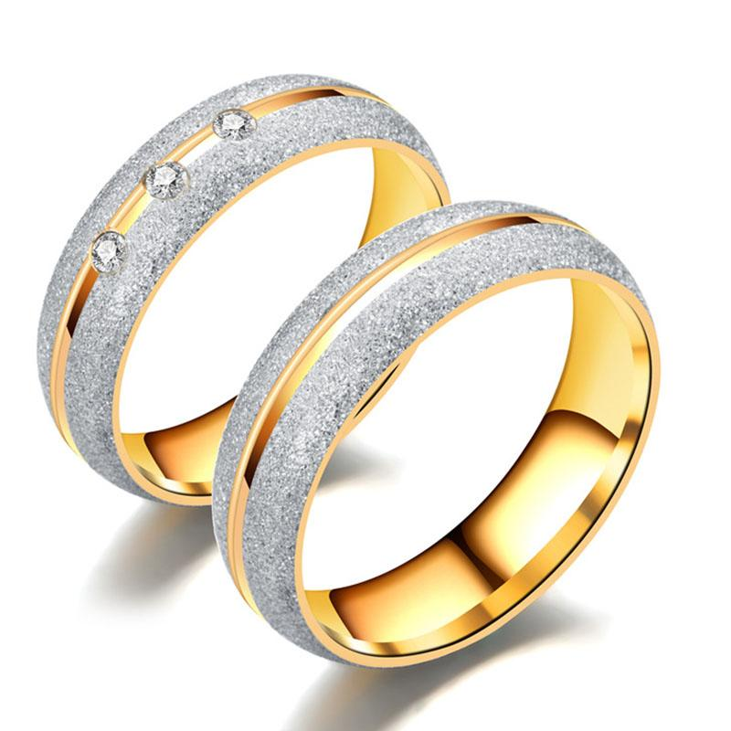Dull Polish Stainless Steel Ring band finger Gold Diamond Crystal Couple Wedding Rings for Men Women Fashion Jewelry will and sandy
