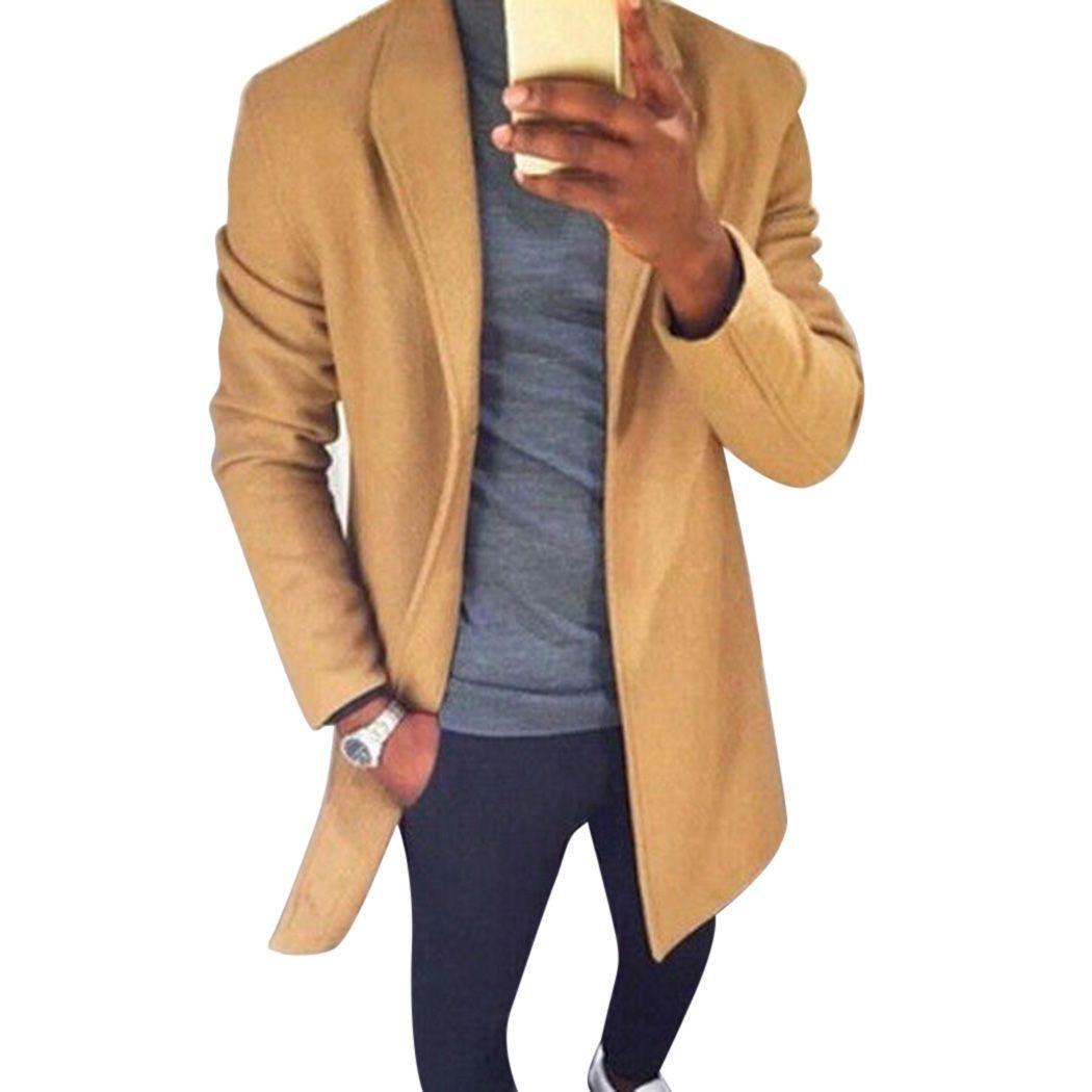 Plus Size Autunno Inverno Uomo Cappotto di lana Trench caldo risvolto lungo Cappotti Cardigan Moda maschile Solid Slim giacca a vento Outwear