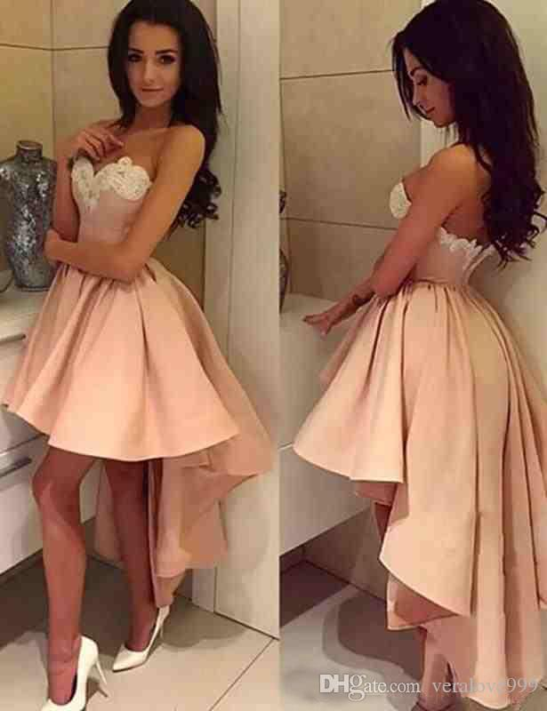 2018 Elegant Prom Dresses High Low Appliques Cheap Homecoming Dresses Graduation Gowns for Girls Pageant Party Wear