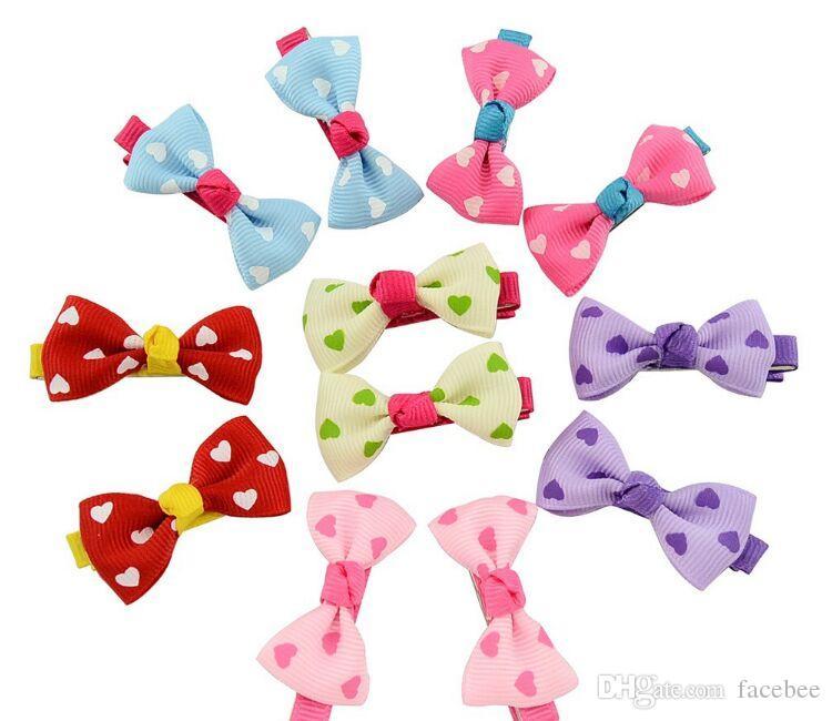 Bébé filles arc clips bonbons couleur solide / à pois fleur impression ruban arc en épingle à cheveux BB pinces à cheveux pour bébé filles enfants cheveux accessoires zzh