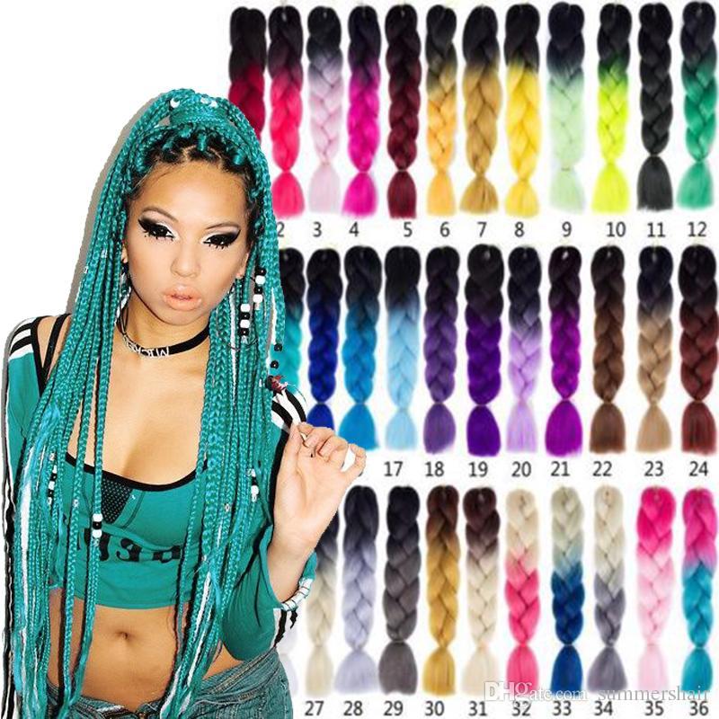 X-Pression Плетение Волос Kanekalon Jumbo Twist Косы 10 шт. / Лот Синтетическое Плетение Крючком для Чернокожих Женщин 24 дюймов 100 грамм