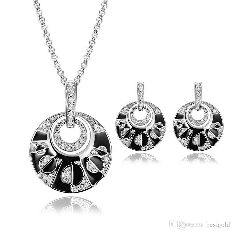 Moda 18 K rodio plateado anillos de diamantes collares establece Negro Onyx Diamond boda nupcial Conjuntos de joyería de traje (collar + pendientes)