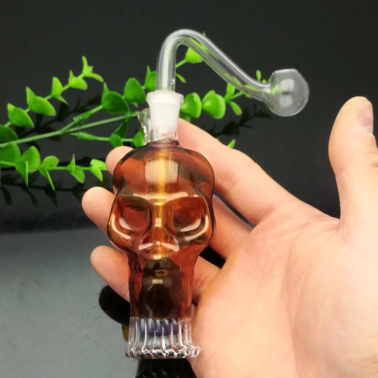 Bouteille d'eau en verre de crâne de couleur mini tuyaux fumer bongs de verre verre Bubblers pour fumer couleurs de mélange de tuyaux