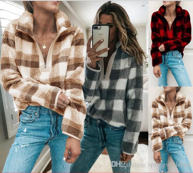 Warm Flannel Autumn Winter Plaid Women Casual Hoodies Fashion Zipper Neck Long Sleeves Sweatshirts Tops FS5164