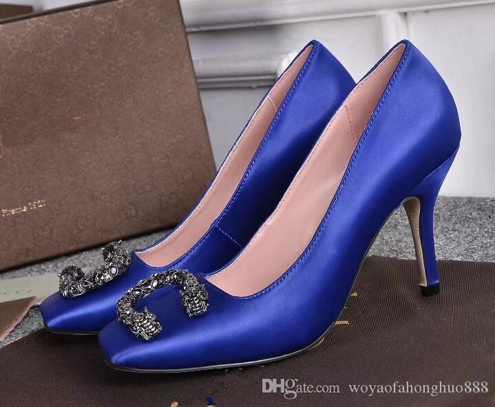 Décolleté da donna Décolleté da donna in pelle blu nera con cinturino alla caviglia Décolleté con cinturino in pelle con tacco alto Scarpe da donna Zapatos Mujer