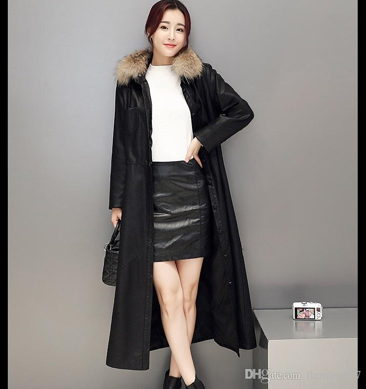 European style Raccoon real Fur Collar female Long design slim outerwear sheepskin leather jacket plus Big Bust size Trench Coat clothing