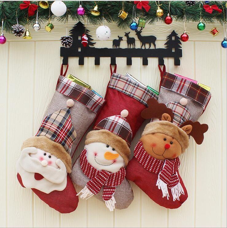 New style Christmas Stockings Socks Santa Claus Candy Gift Bag Christmas tree decoration Hanging Ornament