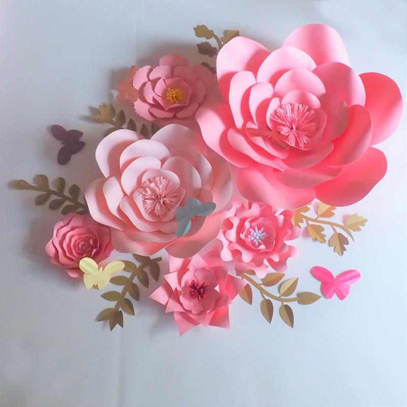 2018 DIY Artificial Giant Paper Flowers 6PCS+Leaves 6PCS+Butterflies 5PCS For Wedding & Event Baby Nursery Decor Video Tutorials