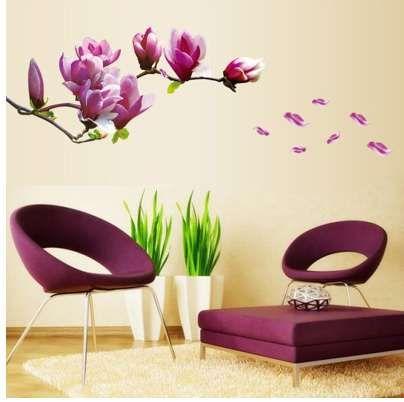 보라색 목련 꽃 벽 스티커 침실 Parlor 벽 스티커 홈 장식 거실 종이 스티커 비닐 벽 전사 술
