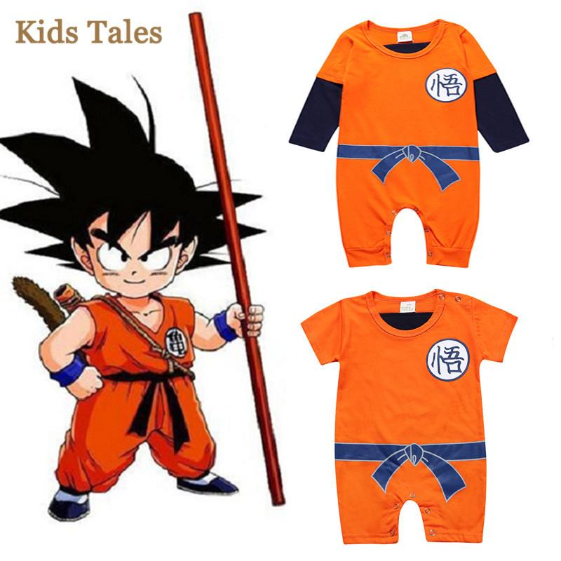 4PCS/1 Lot New Cartoon Children's Jumpsuit Newborn Boys Clothes SUN GOKU Toddler overalls Bebe Costumes Baby Rompers Factory Cost Wholesale
