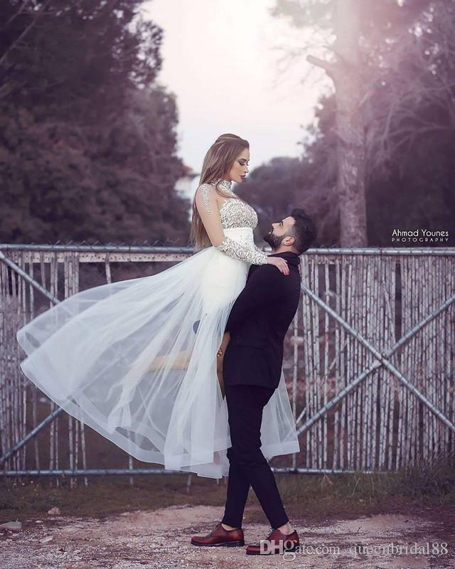 Высокий воротник сексуальные мини-платье-футляр свадебные платья с тюлем Overskirts свадебное платье фарфора с длинными рукавами аппликация формальные свадебные платья