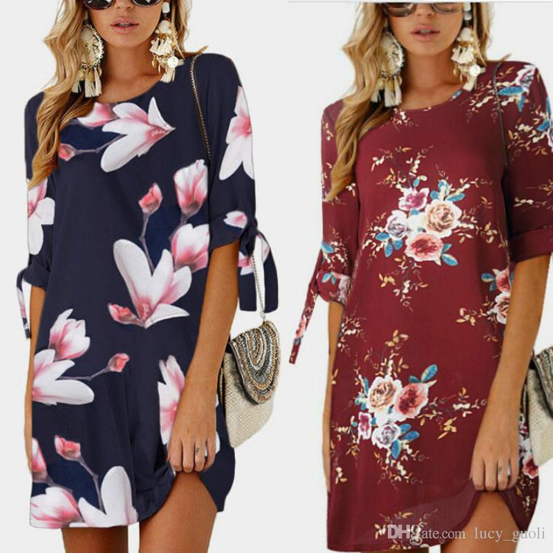 Summer Fashionable Floral Print Women dresses big sizes New 2018 plus size Women Clothing S-4XL 5XL dress Casual o-neck office bodycon Dress