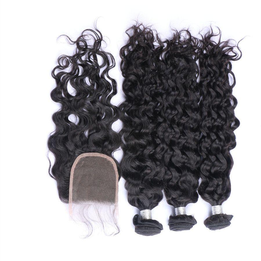 Malasio de la Virgen del pelo humano teje la onda profunda con el encierro profundo Encaje onda ondulado paquetes de pelo con el cordón de cierre 4Pcs / Lot