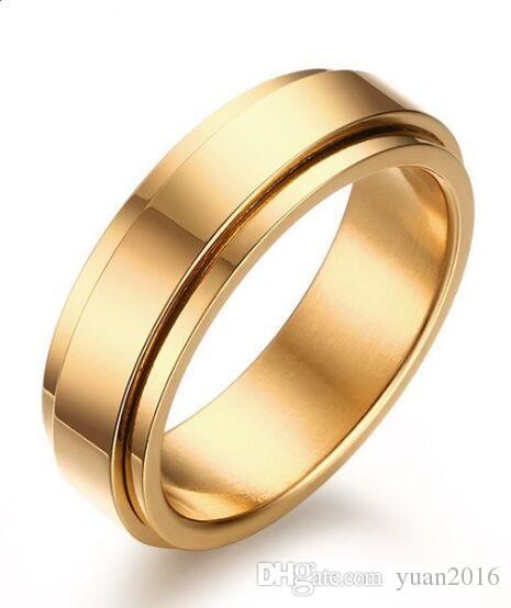 Anel de casamento 6mm 18 K banhado a ouro aço inoxidável 316L spinner anel de casamento para homens e mulheres tamanho 7-11 Promessa de Noivado de Casamento Banda