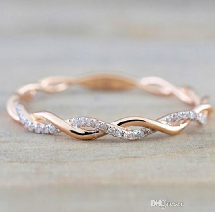 خواتم مجوهرات الزفاف اسلوب جديد جولة الماس خواتم للنساء رقيقة روز لون الذهب تويست حبل التراص في الفولاذ المقاوم للصدأ