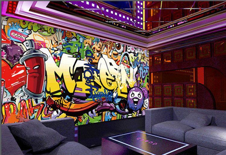 Acheter Haute Qualité Murale Personnalisé Papier Peint Moto Street Art Graffiti Murale Mur Décorations Salon Moderne Peinture Murale De 25 13 Du