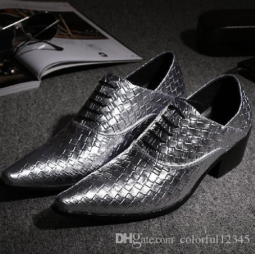 Oro Plata Gris Tejido Zapatos masculinos de cuero Casual talón grueso zapatos de vestir de fiesta puntiagudos del dedo del pie atan para arriba los hombres trenzados zapatos
