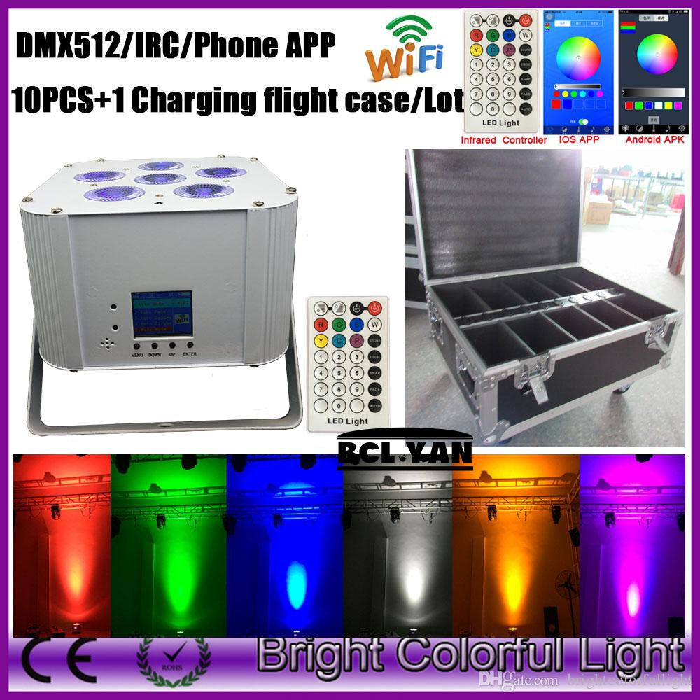 10XLOT With charge case Professional stage lights 6x18w LED PAR Wifi DMX battery phone control par light wireless led uplights