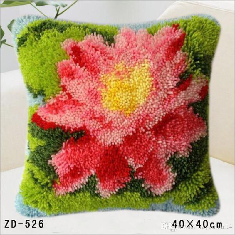 Flores e plantas Patterns Design quadrado gancho da trava Diy Fronhas criativas Lance fronha capa de almofada Artesanato 40x40cm