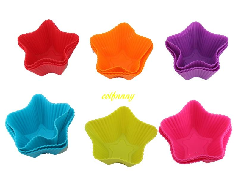500pcs/lot FAST Shipping Five-pointed star Shaped Silicone Muffin Cases Mould Cake Cupcake Liner Baking Mold