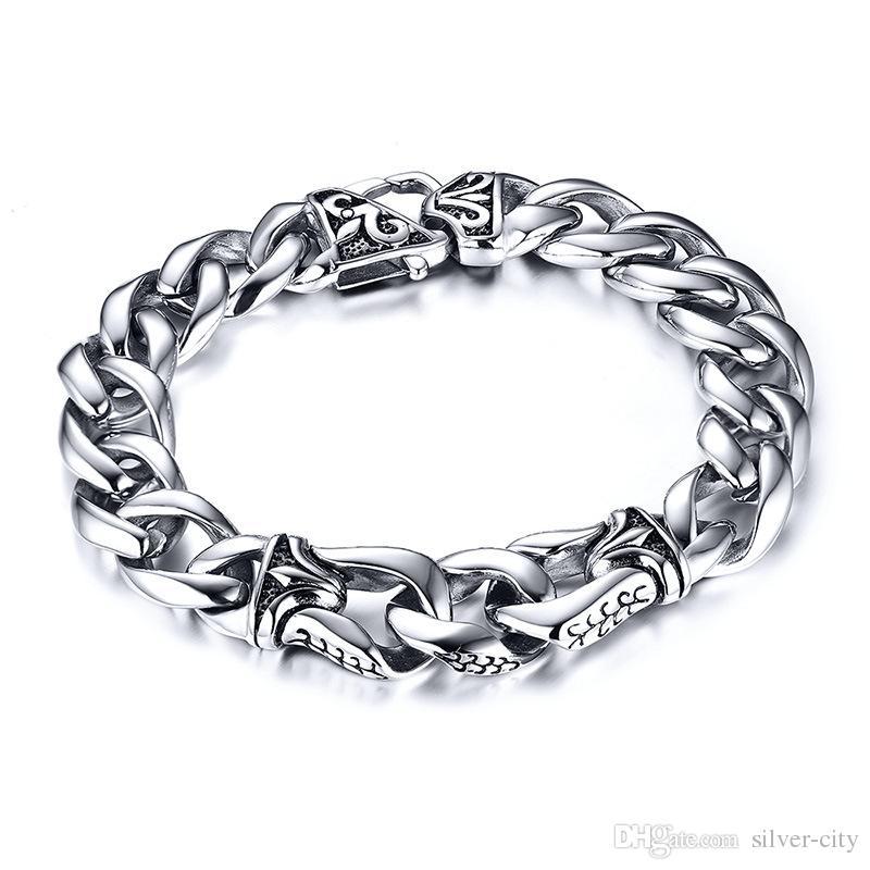 Drop shipping marque neuf de haute qualité hommes gros bracelet en acier inoxydable renaissance bracelets bijoux de mode accessoires source usine 129