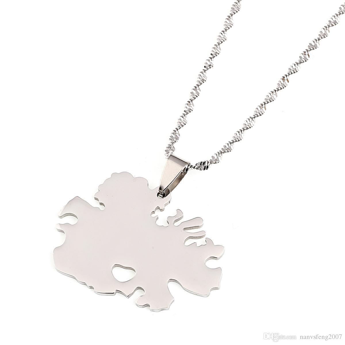 Edelstahl Antigua Land Karte Anhänger und Halsketten Gold Farbe Schmuck Geschenke