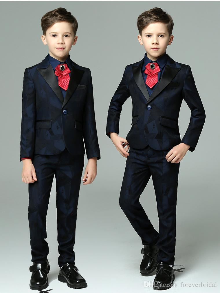 New Arrival Boys Clothing Set Dark Colour Printed Fabric Three Pieces (Jacket+Pant+Vest) Kids Wedding Suits For Party Performance